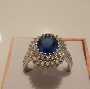 925 Stamped sapphire gemstone rings size 7 new